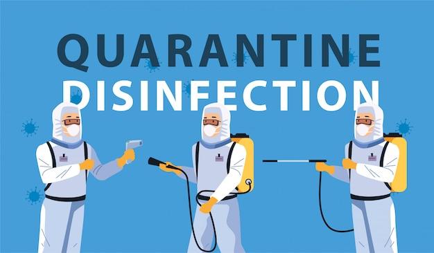 Biosicherheitsarbeiter mit sprühdesinfektionsmittel für covid19