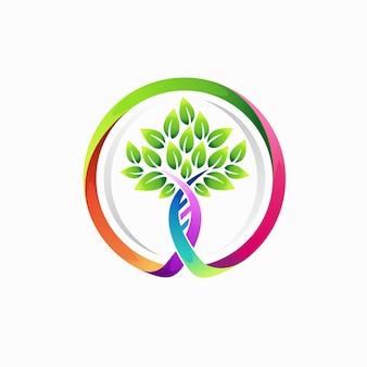 Biotechnologie-logo mit baumkonzept