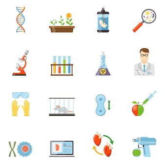 Biotechnologie- und genetik-farbikonen