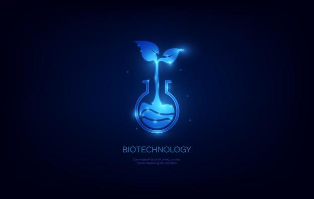 Biotechnologiekonzept futuristischer wissenschaftlicher hintergrund mit laborkolben mit pflanzenlogo