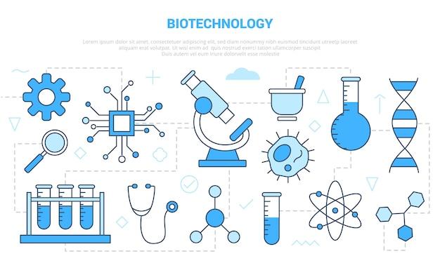 Biotechnologiekonzept mit symbolsatzschablonenfahne mit moderner blauer farbstilillustration