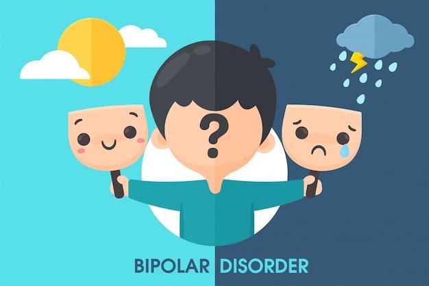 Bipolare patienten mit stimmungsschwankungen manchmal gut gelaunt manchmal traurig, bis sie selbstmord begehen wollen.