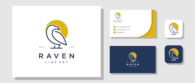 Bird eagle raven modernes luxus-logo-design mit markenidentitäts-layout