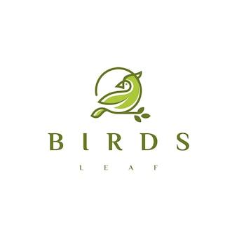 Bird leaf oder cardinal bird logo design lager, mit linie umriss monoline design style