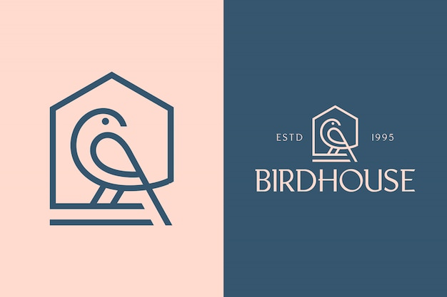 Birdhouse, luxuriöses minimalistisches geometrisches serifenloses schrift- und logoset