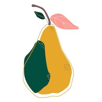 Birne abstrakte isolierte vektor-illustration. skandinavischer stil. sommerplakat. gesunde zeichenkunst. süße frucht.
