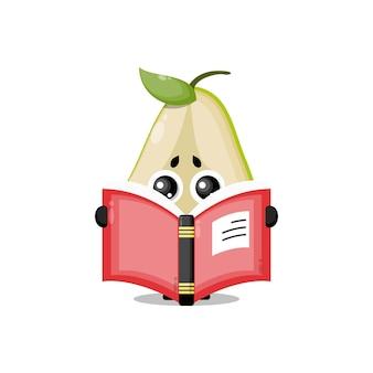 Birne, die ein süßes charaktermaskottchen des buches liest