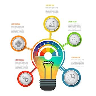 Birne infografiken mit fünf optionen