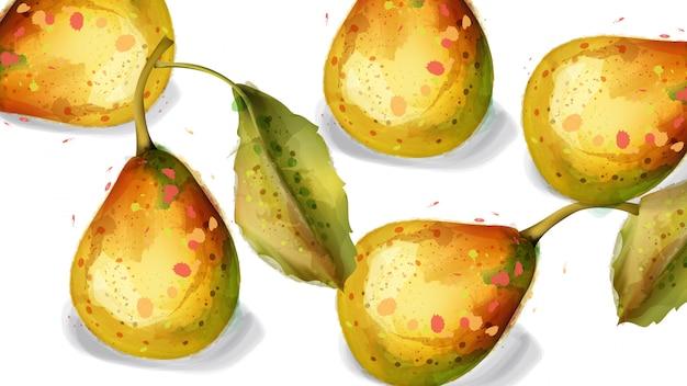 Birne trägt aquarell früchte Premium Vektoren