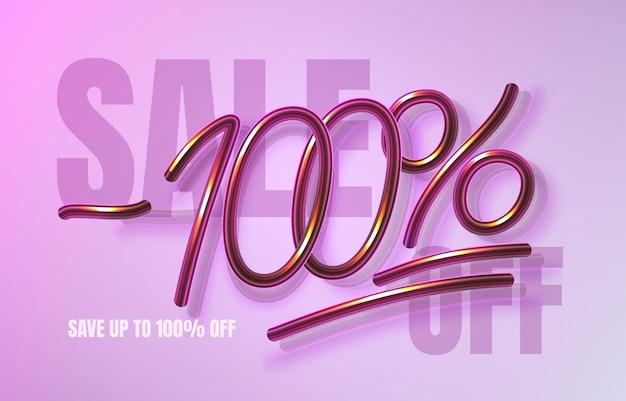 Bis zu 100 rabatt auf verkaufsbanner, werbeflyer, marketingetikett. vektor-illustration