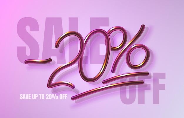 Bis zu 20 rabatt auf verkaufsbanner, werbeflyer, marketingetikett. vektor-illustration