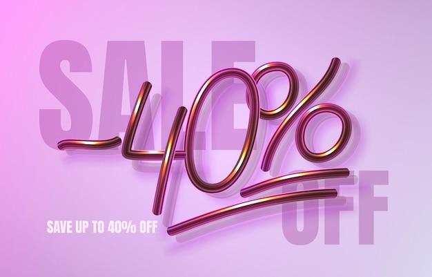 Bis zu 40 rabatt auf verkaufsbanner, werbeflyer, marketingetikett. vektor-illustration