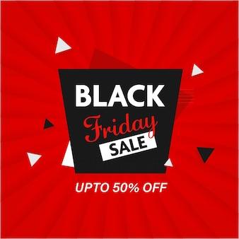 Bis zu 50 % rabatt für black friday sale poster oder template design in roter farbe.