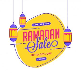 Bis zu 50% rabatt für ramadan sale poster design mit hängenden laternen verziert.