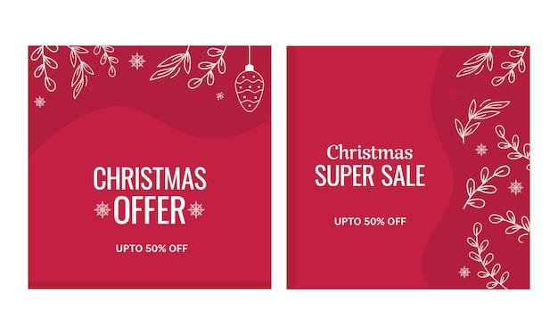 Bis zu 50 % rabatt für weihnachtsposter oder vorlagenset in roter farbe.