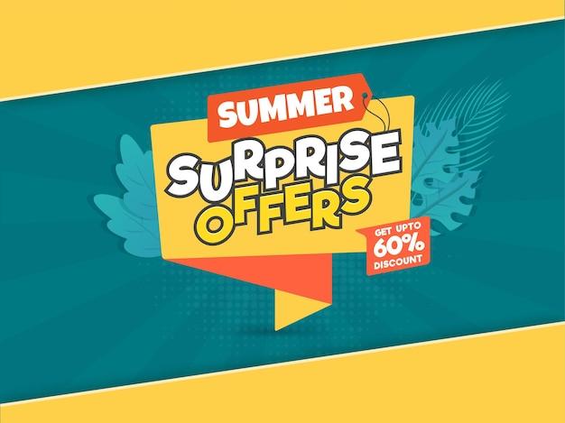 Bis zu 60 % rabatt auf das posterdesign im sommerverkauf in gelb und blaugrün.