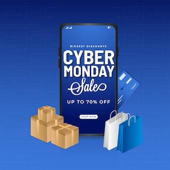 Bis zu 70% rabatt für cyber monday sale poster design