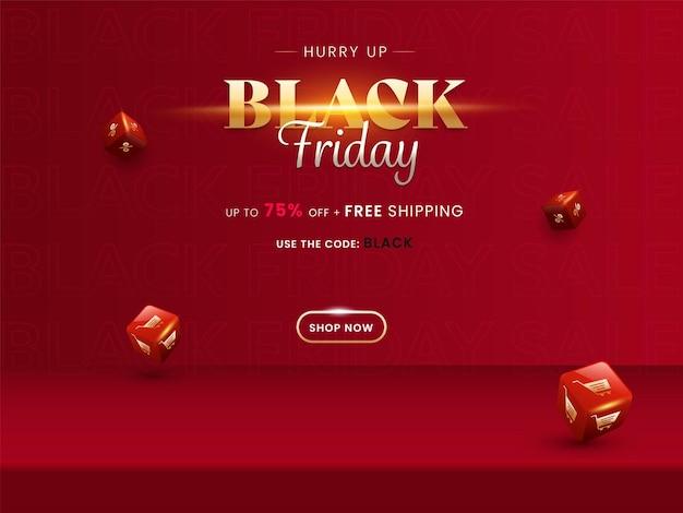 Bis zu 75% rabatt für black friday sale poster design mit 3d roten einkaufswürfeln.