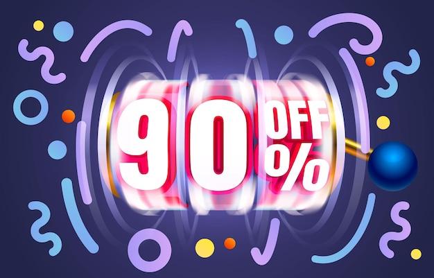 Bis zu off sale banner promotion flyer slots label vektor