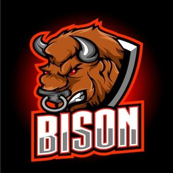 Bison esport maskottchen logo design
