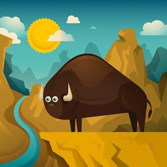 Bison in freier wildbahn