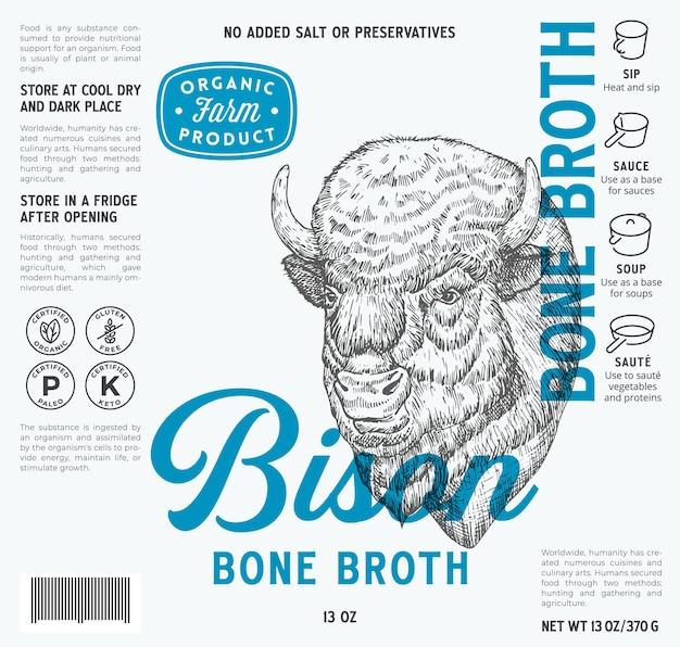 Bison knochenbrühe etikettenvorlage abstrakte vektor lebensmittelverpackung design layout moderne typografie