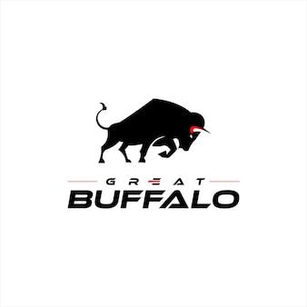 Bison logo silhouette wild büffel tier vektorgrafik design