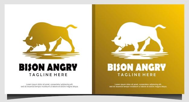 Bison wütendes logo-design