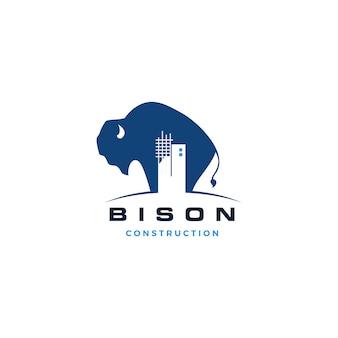 Bisonbaugebäudelogo-vektorikonenillustration