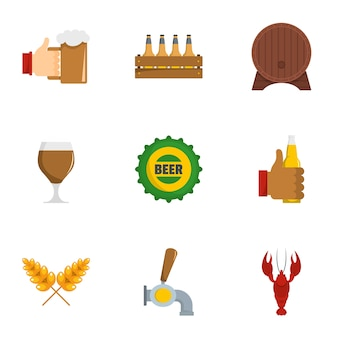 Biss icons set, flache