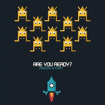 Bist du bereit drücke start mit grafiken von raumspiel mit blauer rakete