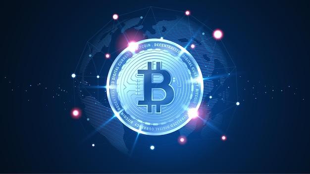 Bit-coin-blockchain-technologie mit globalem verbindungskonzept, geeignet für finanzinvestitionen oder kryptowährungstrends, geschäftsideen und alle kunstwerke - vector