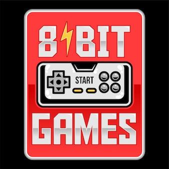 Bit retro alten gamepad joystick videospiel-controller. benutzerdefinierte illustration über geek culture gamer mit slogan für print design kleidung t-shirt kleidung t-shirt abzeichen ware.