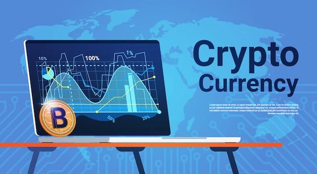 Bitcoin auf laptop-computer über welt-karten-digital-netz-geld-krypto-währungs-konzept