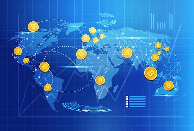 Bitcoin auf weltkarten-geldüberweisungs-konzept-kryptowährungs-digitalem zahlungssystem