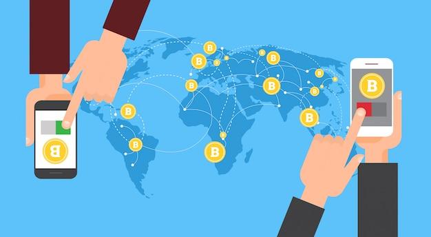 Bitcoin-austausch und übertragungshand, die intelligentes telefon hält