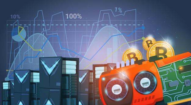 Bitcoin-bergbau-bauernhof-digital-kryptowährung-moderner netz-geld-blauer hintergrund mit diagrammen und diagrammen