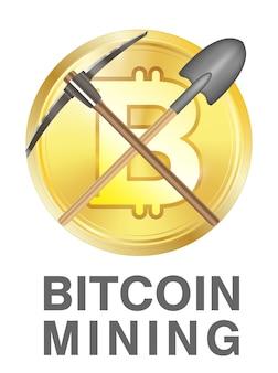 Bitcoin-bergbau-logo mit spitzhacke und schaufel