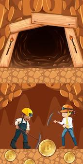 Bitcoin-bergbau mit zwei bergarbeitern im untergrund