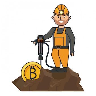 Bitcoin-bergbau und arbeiter mit bohrmaschine