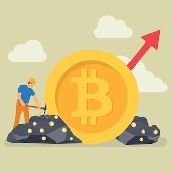 Bitcoin-bergbautechnologie-kleiner leute-charakter