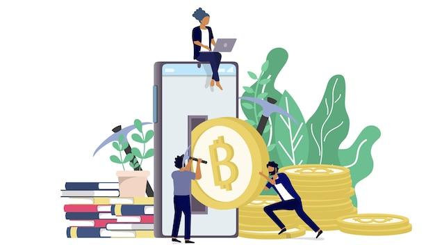 Bitcoin blockchain-kryptowährungskonzept. goldene münze der kryptowährung kommen vom handy in minimalem design mit hintergrund von baumblättern heraus.