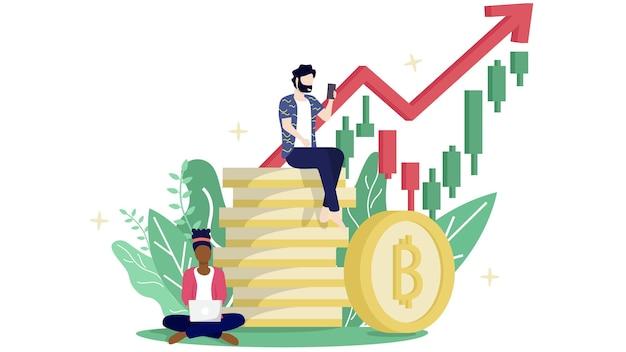 Bitcoin blockchain-kryptowährungskonzept.