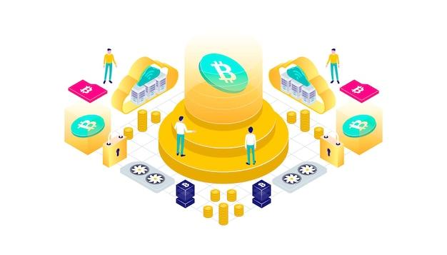 Bitcoin-blockchain-mining-technologie für kryptowährung internet-iot-sicherheits-dashboard isometrische 3d-flache abbildung.