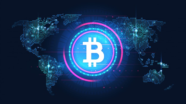 Bitcoin-blockchain-technologie mit globalem verbindungskonzept