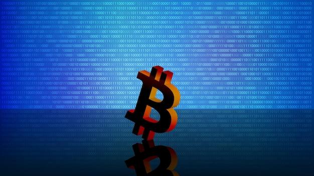 Bitcoin btc-token-symbol auf spiegelboden auf blauem digitalem hintergrund mit kopienraum. für neuigkeiten auf der website. vektor-illustration.