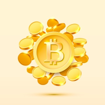 Bitcoin cash goldene münze, viele münzen münzen hintergrund