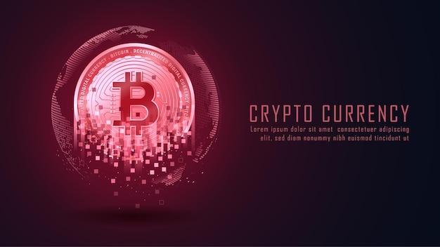 Bitcoin-cracks oder -zerfall stellen den abwärtstrend des bitcoin-konzepts dar