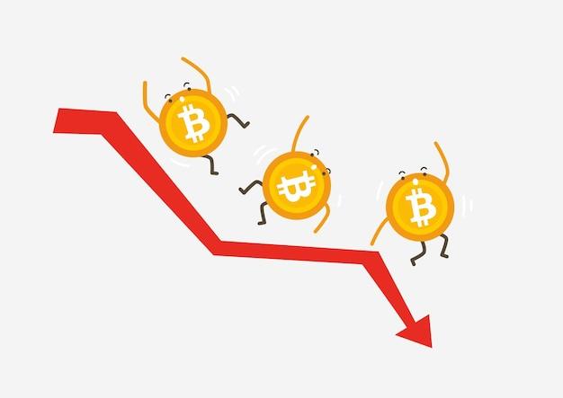 Bitcoin-crash-grafikvektor. bitcoin-preis sinkt. preis marktwert sinkt. kryptowährung-cartoon-konzept.