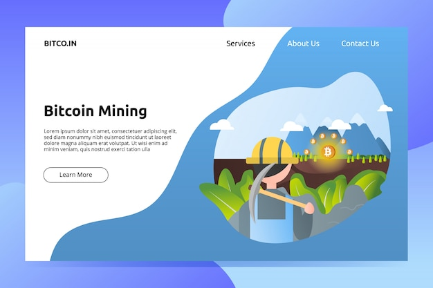 Bitcoin cryptocurrency mining landing page illustration